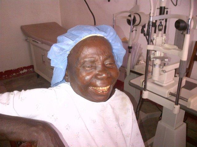 A laughing Mama Hélène as she received the Priceless Gift of Sight 1