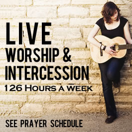 The Prayer Room maintains live worship and prayer 18 hours a day, 7 days a week.