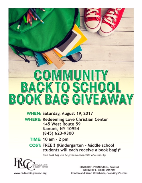 Book Bag Giveaway Flyer