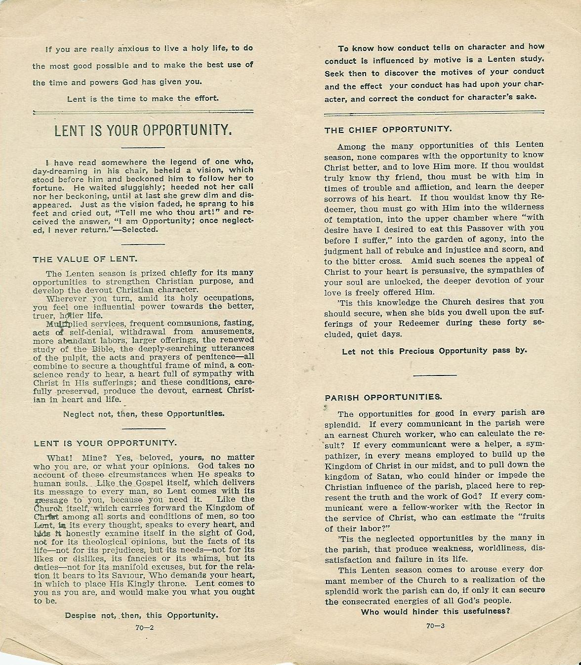 Click to see page 2 of a 1916 Lenten Service leaflet