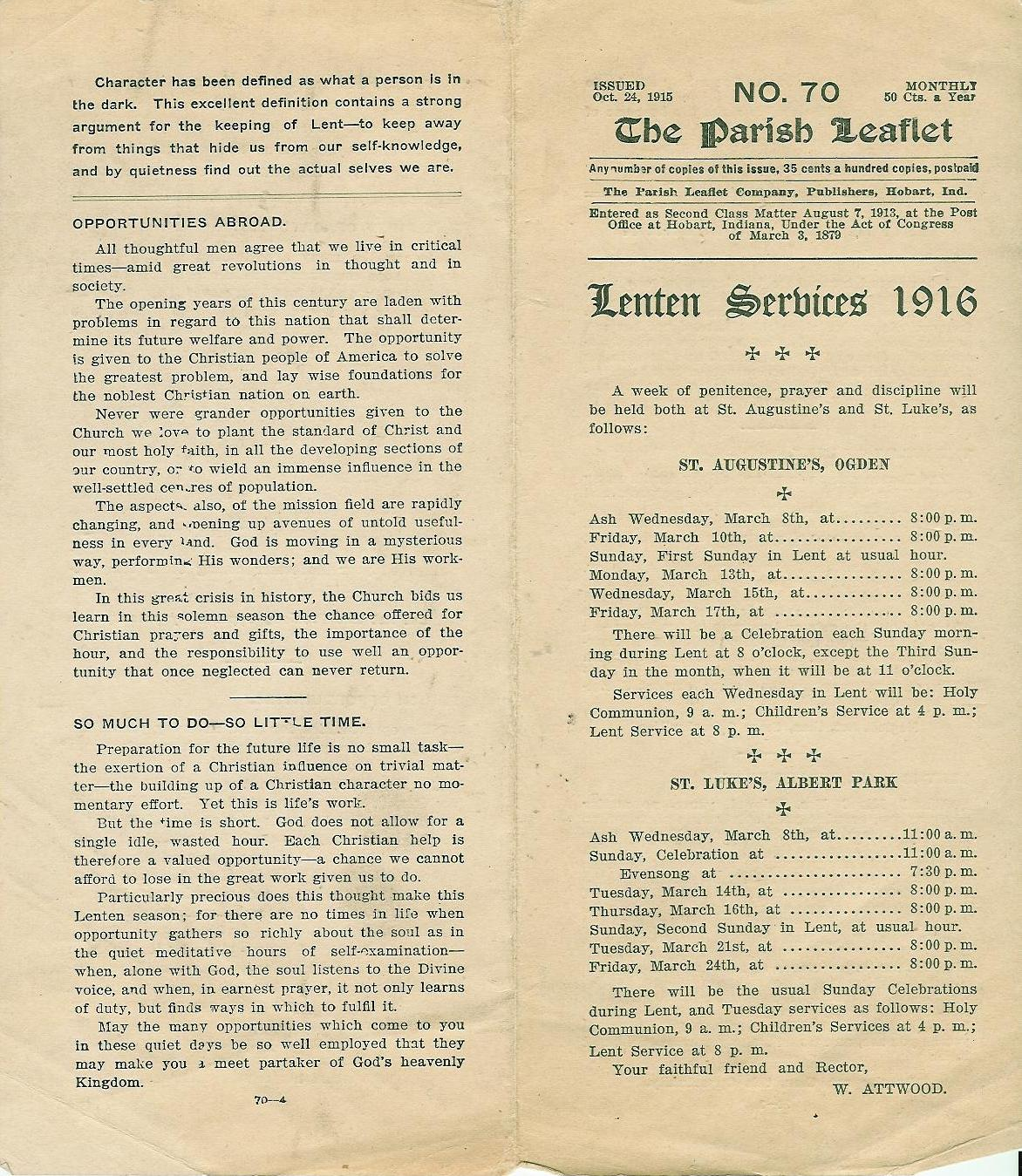 Click to see a 1916 Lenten Service leaflet
